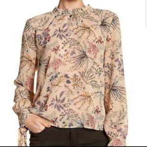 Wayf Tan Floral Print Mock Long Sleeve Blouse